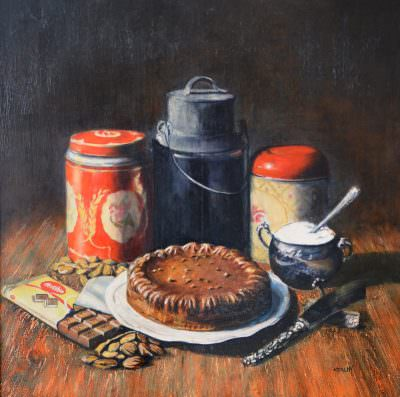 Almond Cake Recipe ~ Painting by Brandon Kralik