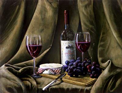 Wine and Grapes and Camembert ~ Painting by Brandon Kralik