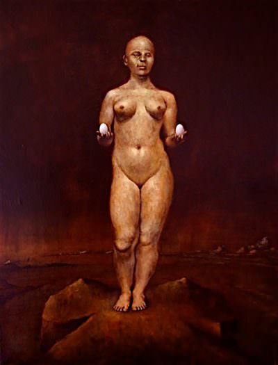 Woman With Eggs ~ Painting by Brandon Kralik
